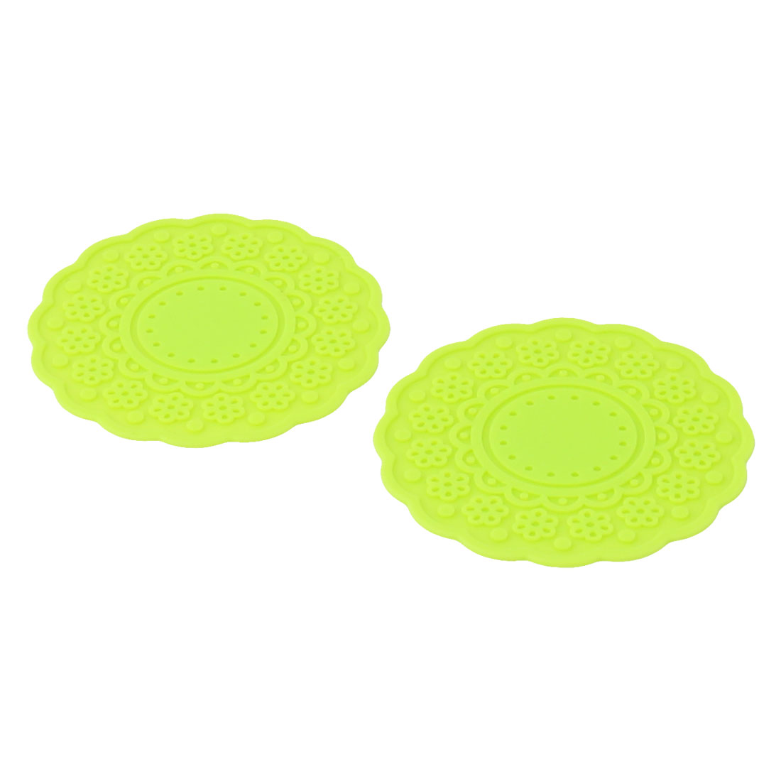 Houseware Flower Design Rubber Drinking Heat Glass Cup Coaster Mats Pad Yellow Green 2 PCS