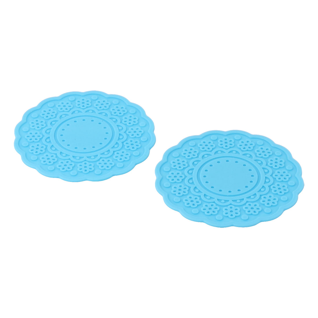 Family Flower Shaped Rubber Drinking Heat Glass Cup Coaster Mats Pad Blue 2 PCS