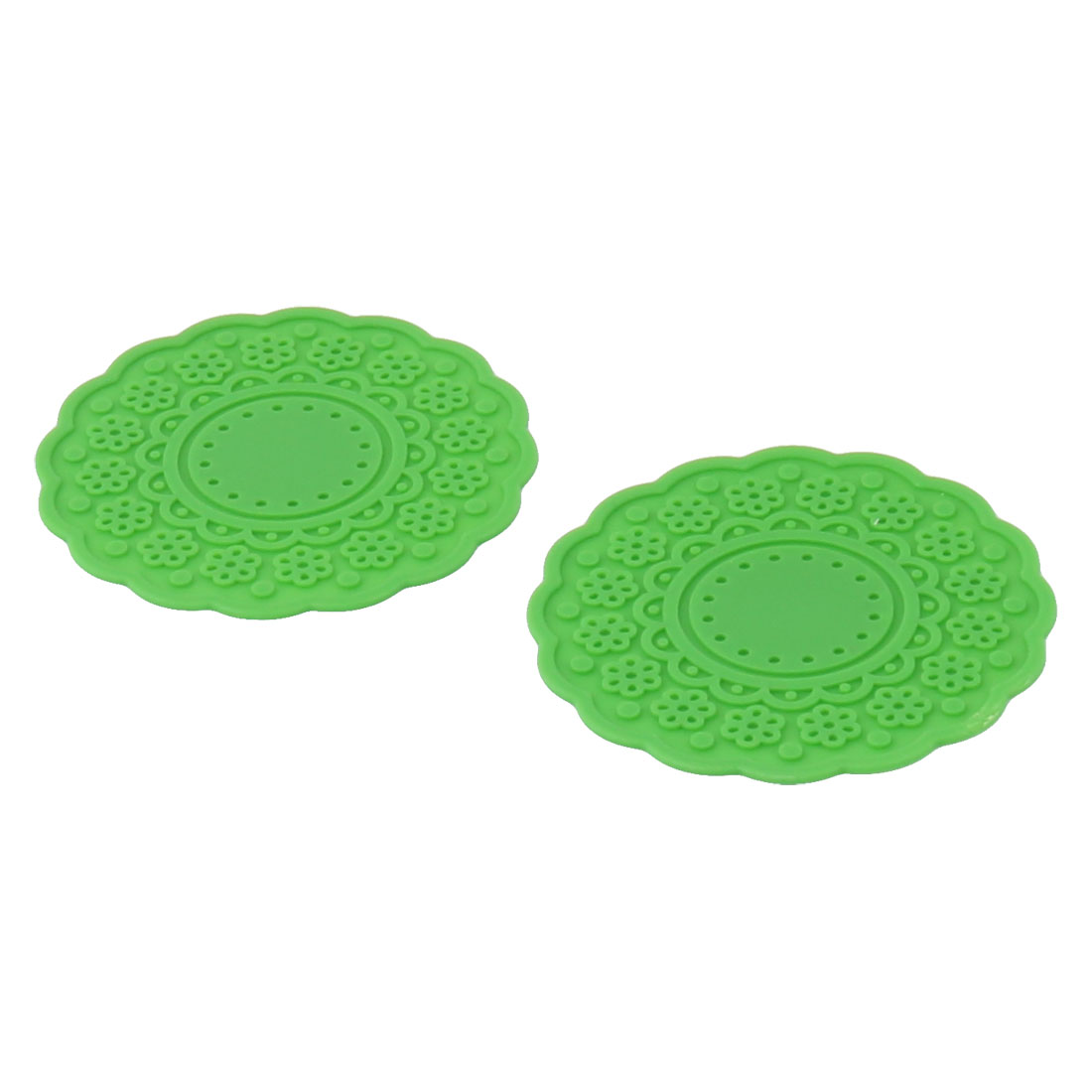 Restaurant Flower Shaped Rubber Drinking Heat Glass Cup Coaster Mat Pad Green 2 PCS