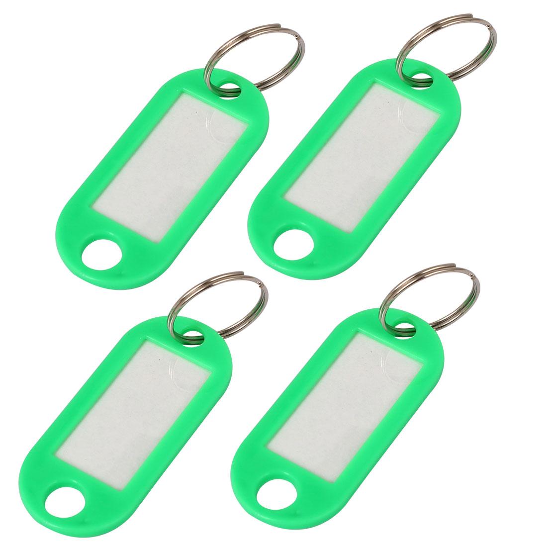 Plastic Key ID Tags Name Card Split Rings Label Keyrings Key Chains Green 4pcs