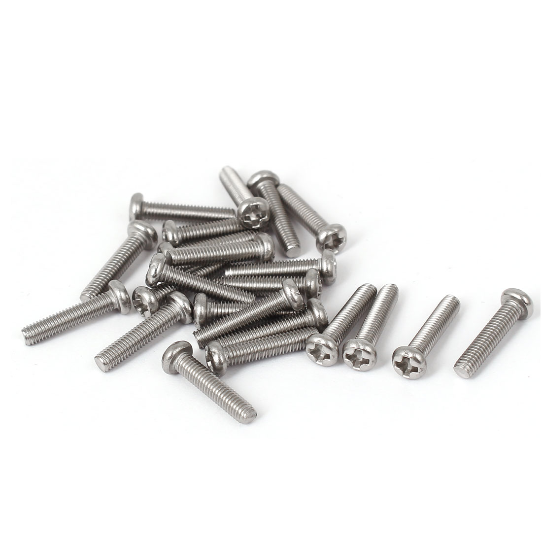 M3 x 14mm 304 Stainless Steel Phillips Drive Machine Bolts Pan Head Screws 23PCS