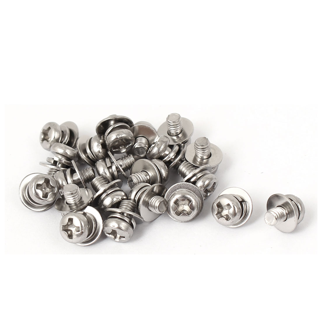 21PCS M3 x 5mm 304 Stainless Steel Phillips Round Head Machine Screws w Washers