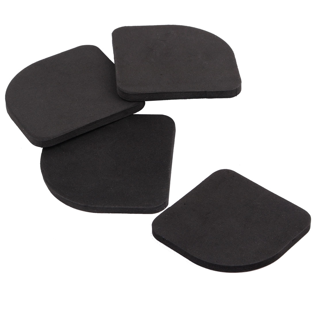 4 PCS Sponge Washing Machine Chair Leg Furniture Foot Pads Mats Black 10cm x 9cm x 0.5cm