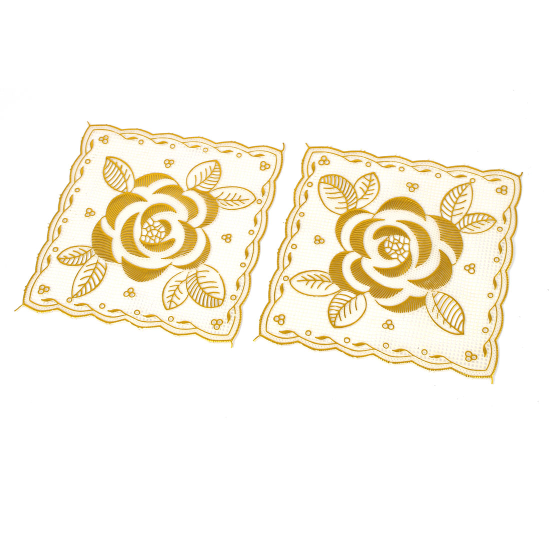 Household Flower Prints Plastic Square Tableware Hot Heat Resistant Mat Pads Gold Tone 2pcs