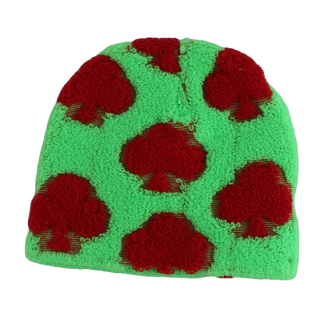 Bathroom Women Flower Pattern Elastic Band Bathing Hat Shower Cap Green Red