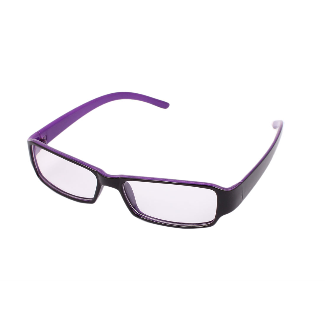Women Plastic Full Frame Eyewear Spectacles Optical Plain Glasses Black Purple