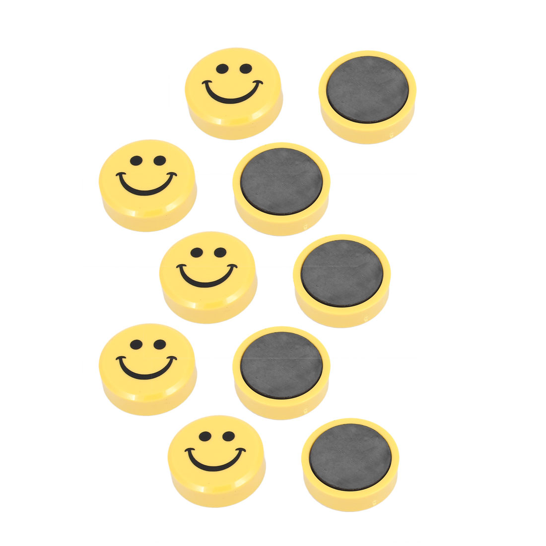 Home School Office Smile Face Pattern Blackboard Fridge Magnetic Stickers Yellow 10 Pcs