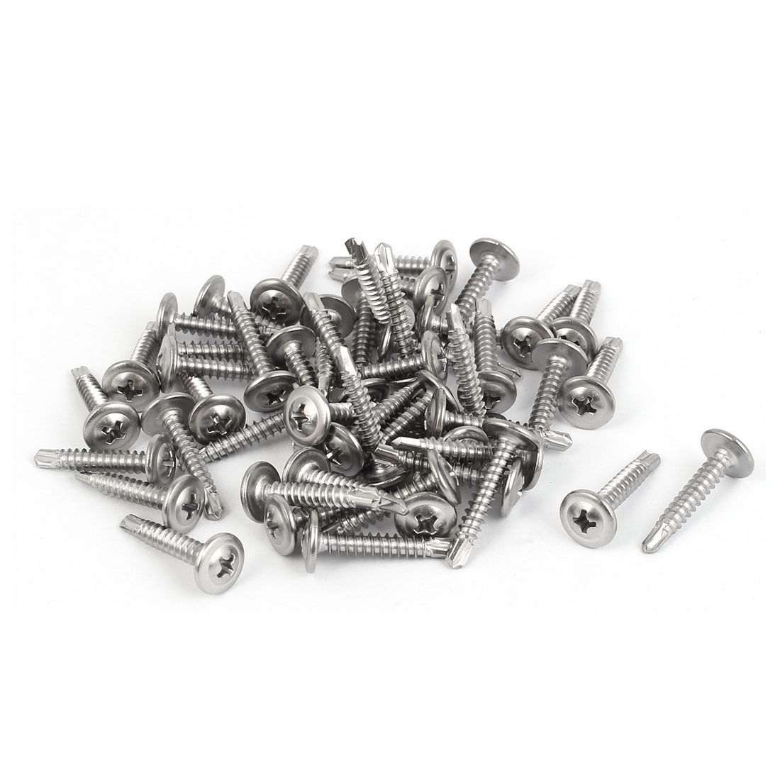 M4.2 x 25mm #8 Male Thread Stainless Steel Self Drilling Flat Head Screws 50 Pcs