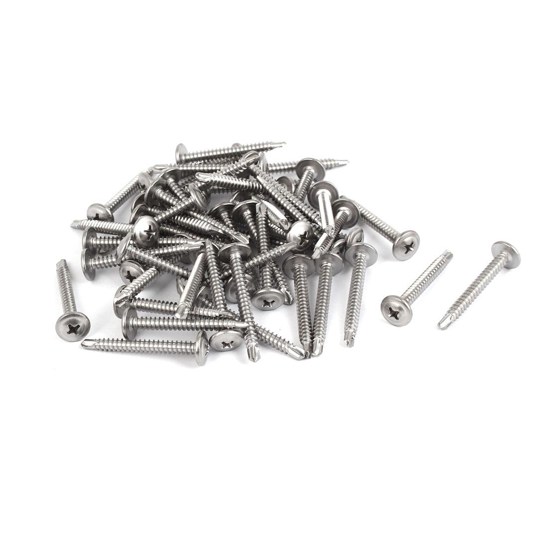 #8 M4.2 x 38mm Thread 410 Stainless Steel Self Drilling Flat Head Screws 50 Pcs