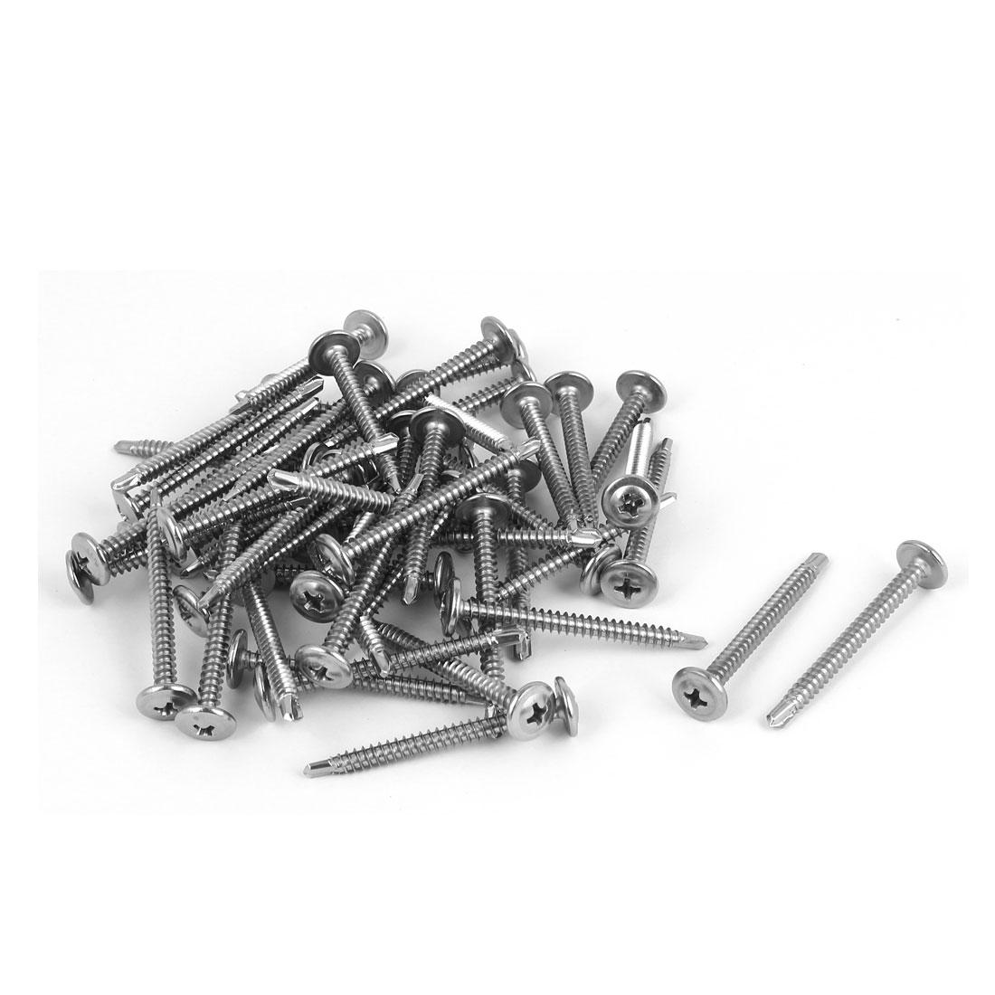 M4.2 x 45mm #8 Male Thread Stainless Steel Self Drilling Flat Head Screws 50 Pcs