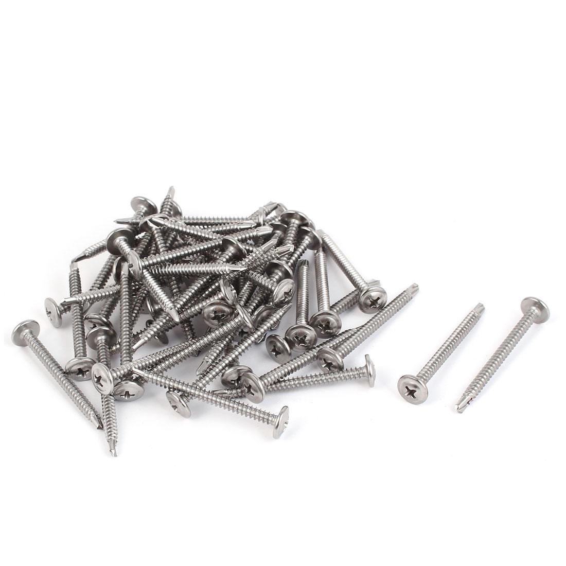 M4.2 x 50mm #8 Thread Self Drilling Flat Phillips Head Screws Silver Tone 50 Pcs