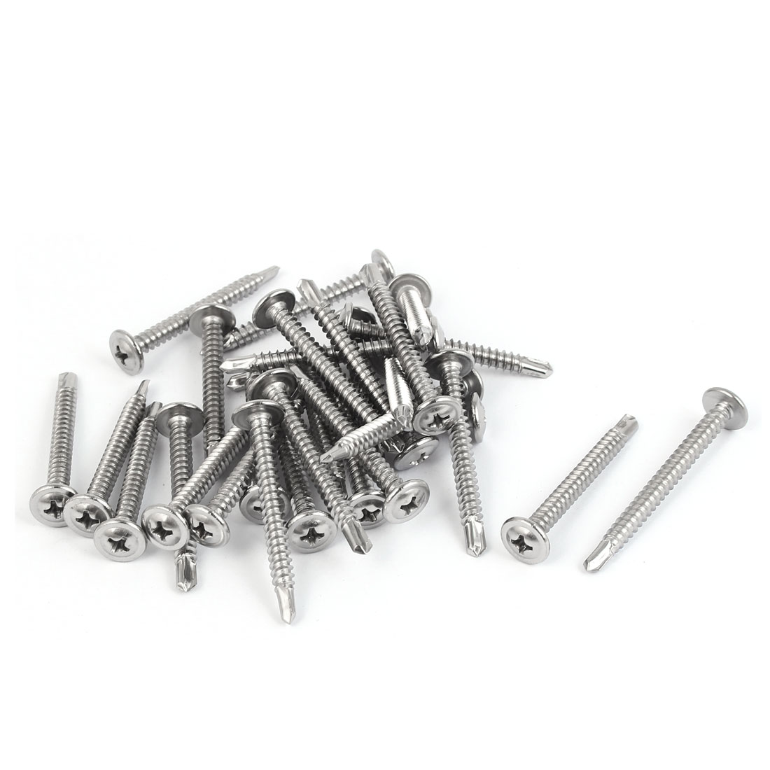 M4.8x45mm #10 Male Thread Stainless Steel Self Drilling Flat Head Screws 30 Pcs