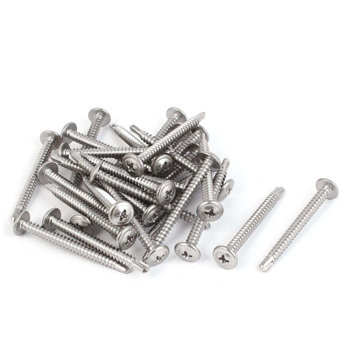 M4.8 x 50mm #10 Male Thread Self Drilling Phillips Drive Flat Head Screws 30 Pcs