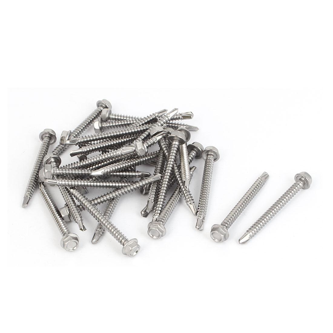 M4.2 x 45mm #8-18 Male Thread Hex Washer Head Self Drilling Tek Screws 30 Pcs