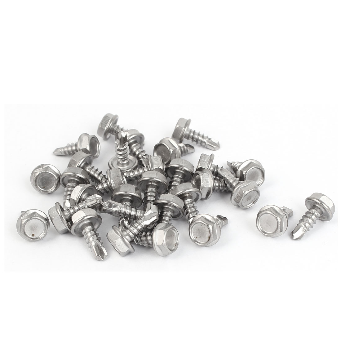 M4.8 x 13mm #10-16 Male Thread Hex Washer Head Self Drilling Screws Bolts 30 Pcs
