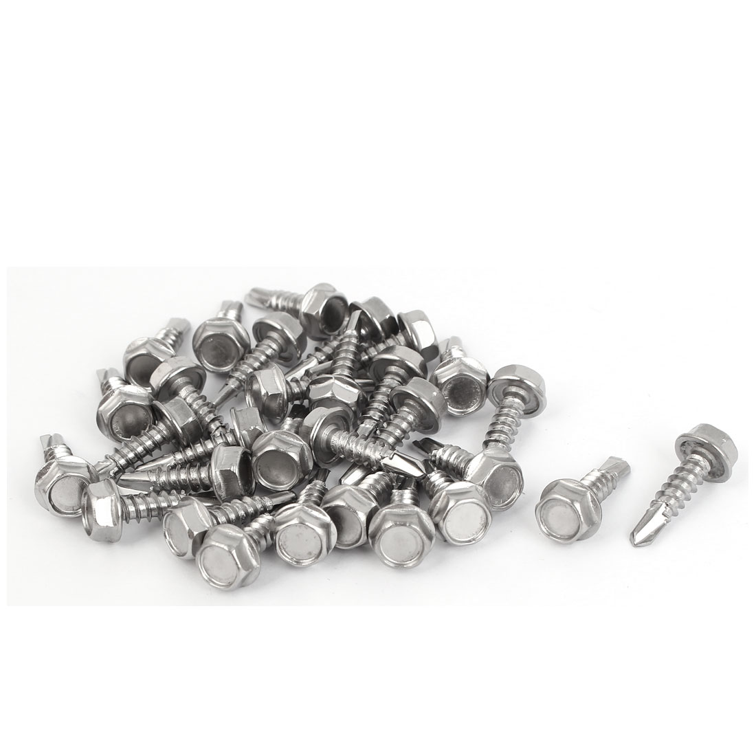 M4.8 x 19mm #10-16 Thread Hex Washer Head Self Drilling Tek Screws Bolts 30 Pcs
