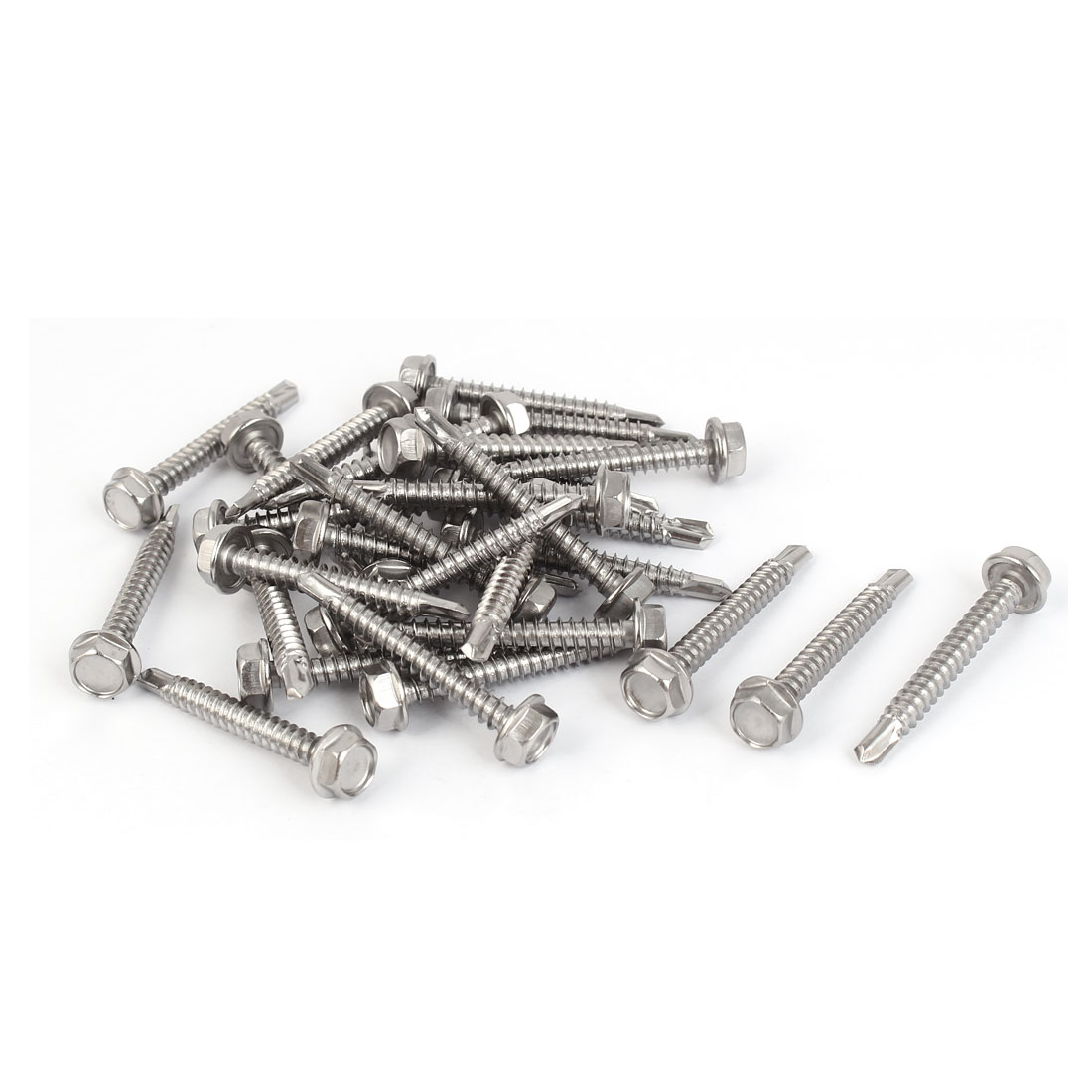 M4.8x38mm #10-16 Thread 410 Stainless Steel Hex Head Self Drilling Screws 30 Pcs