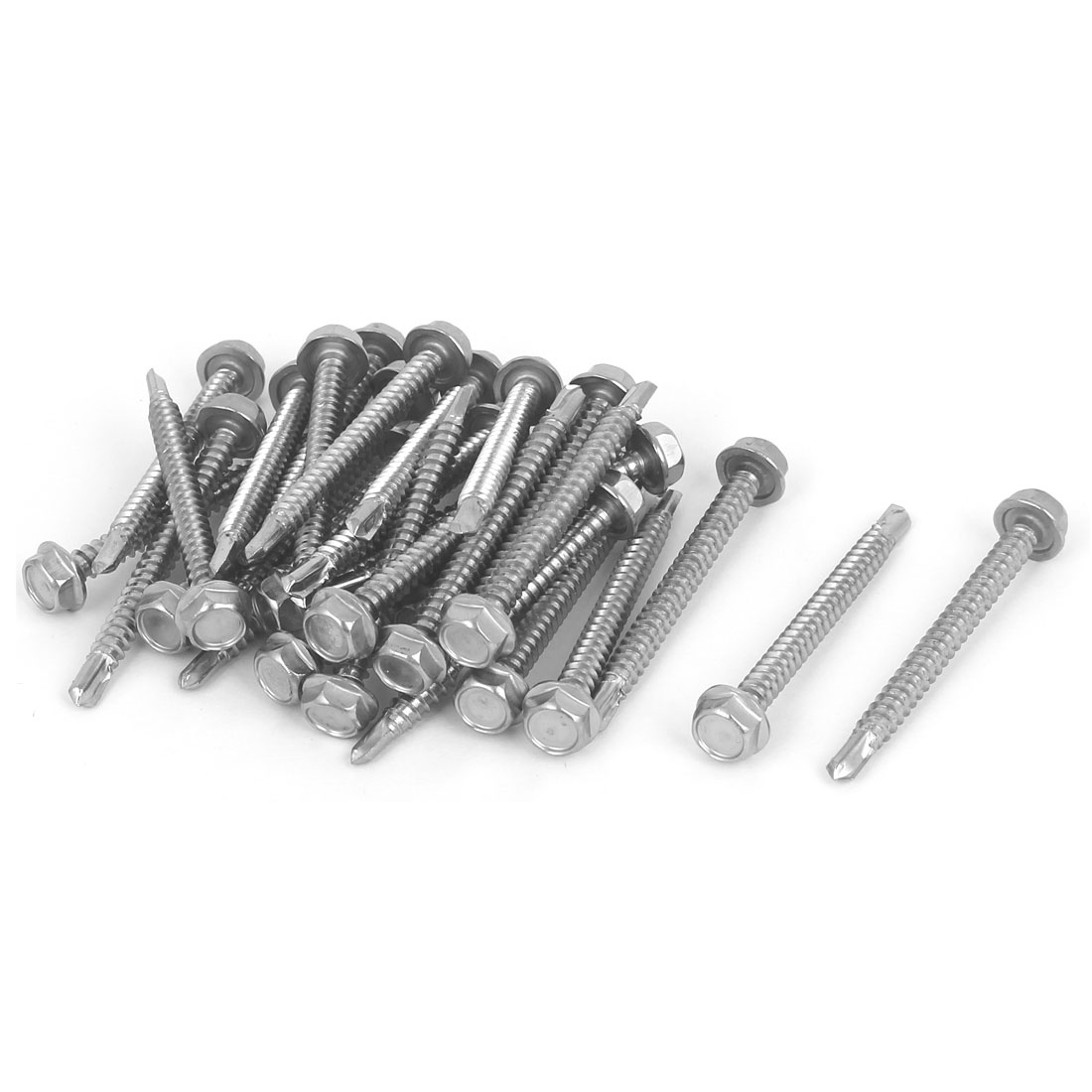 Hex Washer Head Self Tapping Drilling Screw Bolt Silver Tone M4.8x50mm #10-16 Thread 30pcs