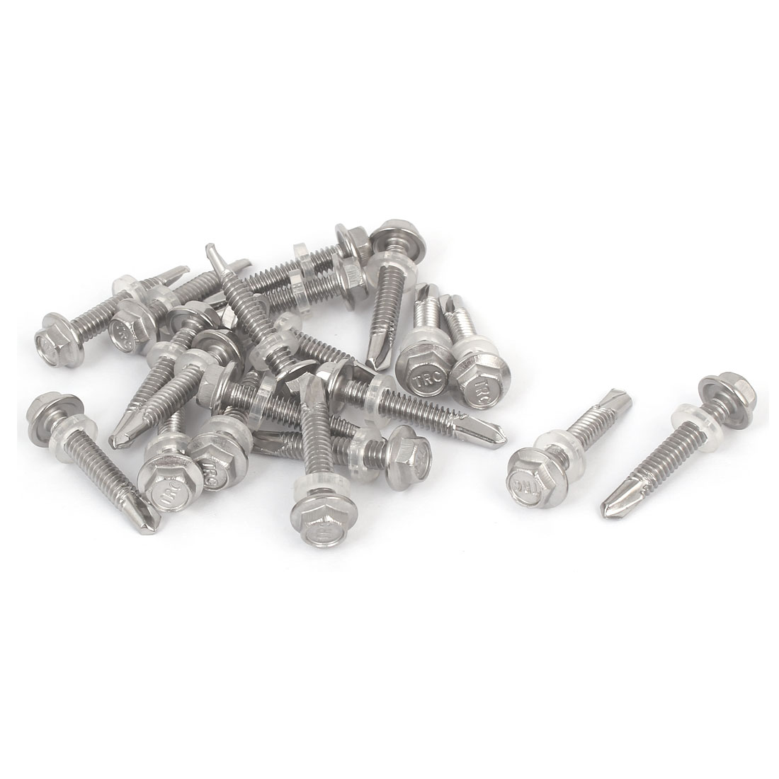 Hex Washer Head Self Tapping Drilling Screw Bolt Silver Tone M5.5x32mm #12-14 Thread 20pcs