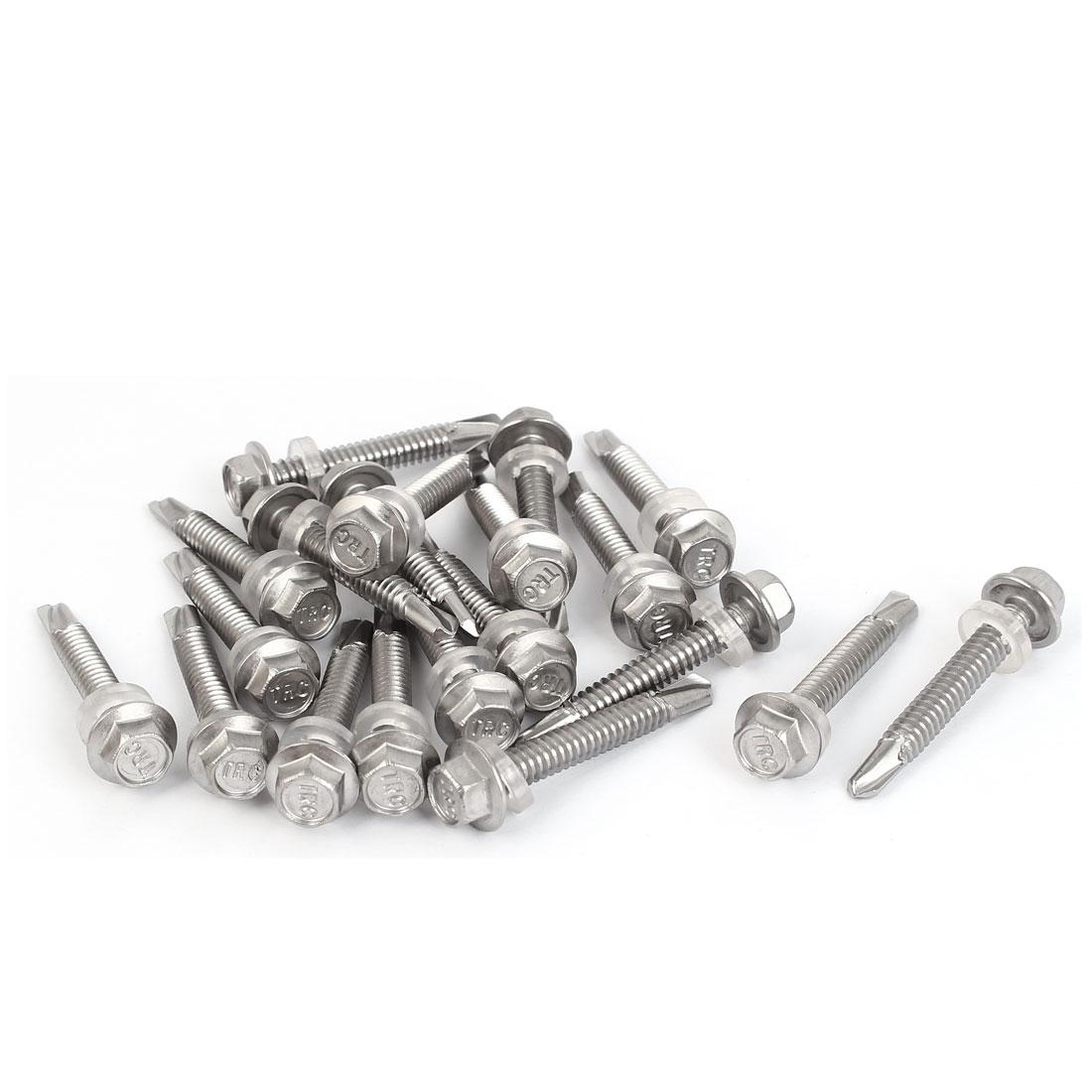 M5.5x38mm #12-14 Thread Stainless Steel Hex Head Self Drilling Screws w Washer 20 Pcs