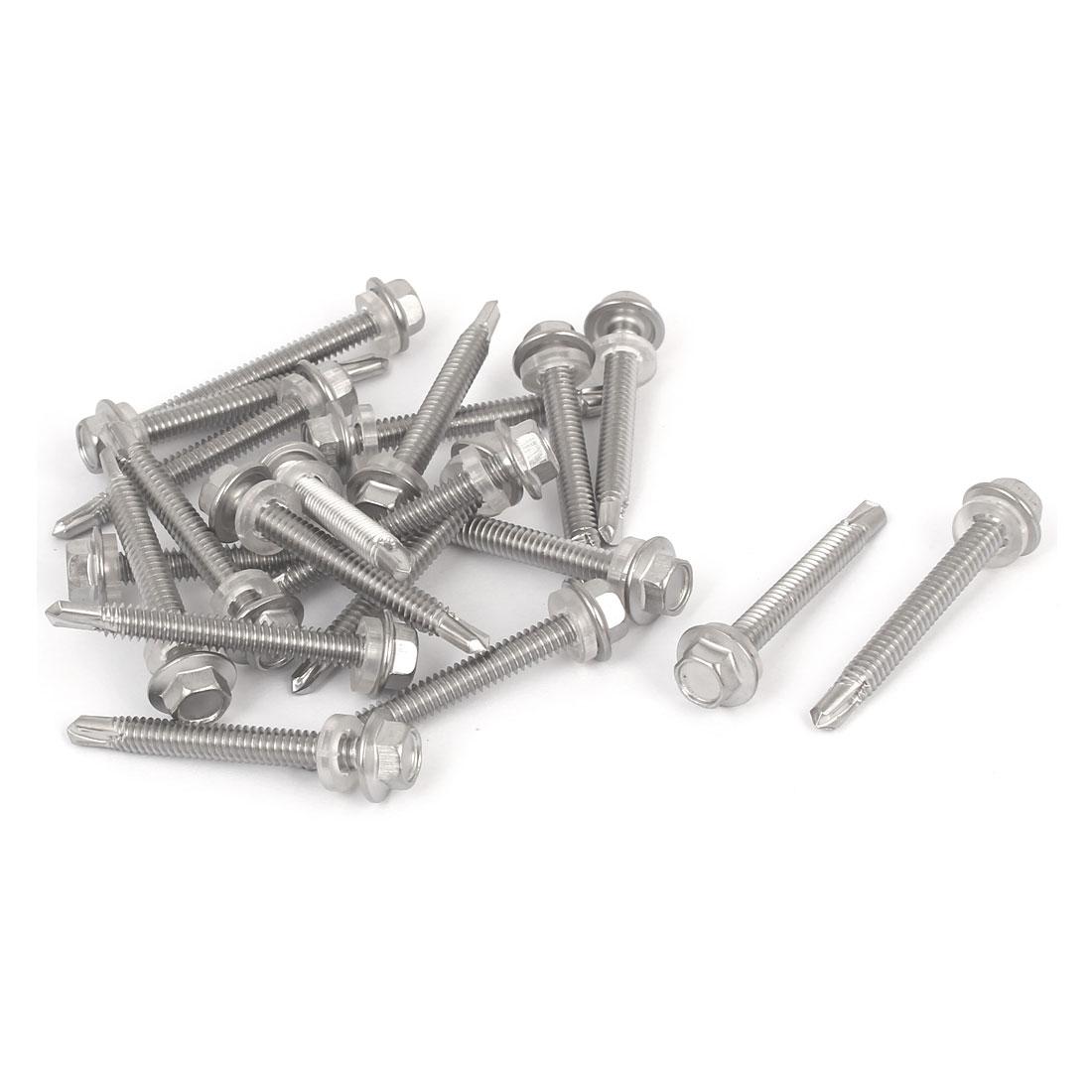 Hex Washer Head Self Tapping Drilling Screw Bolt Silver Tone M5.5x45mm #12-14 Thread 20pcs