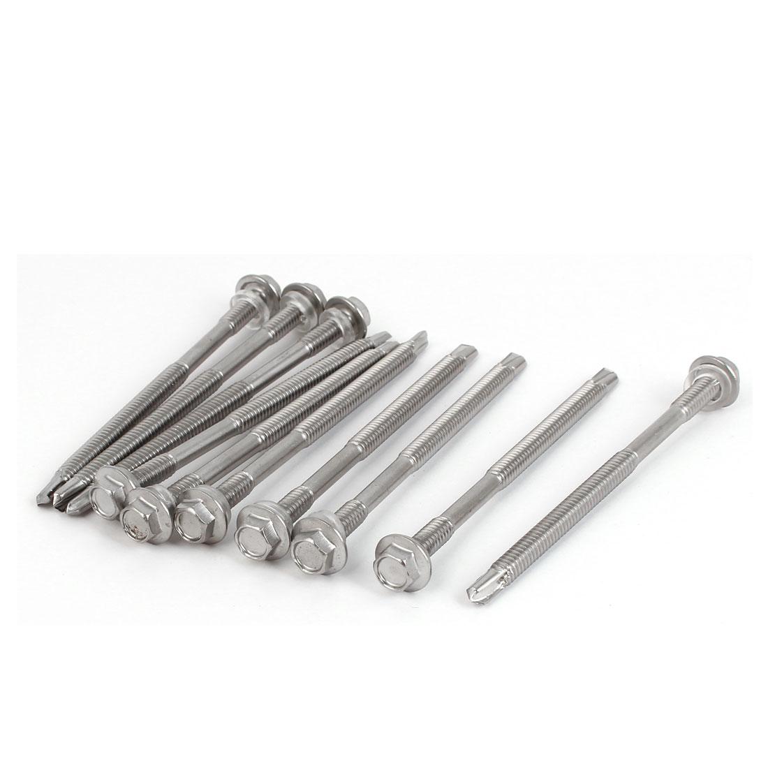 M5.5 x 90mm #12-14 Male Thread Hex Head Self Drilling Tek Screws w Washer 10 Pcs