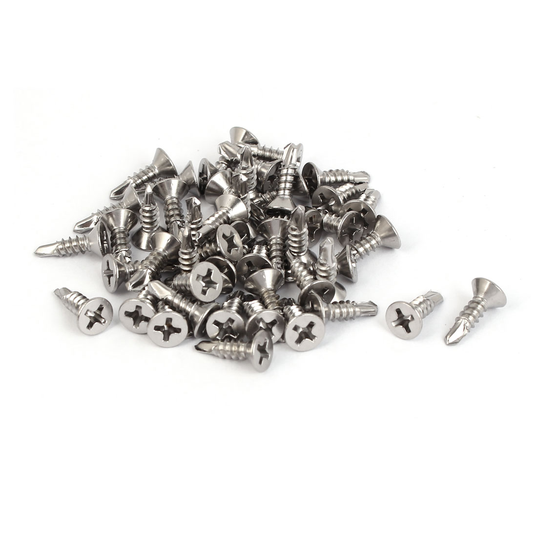 M3.5x13mm #6-20 410 Stainless Steel Self Drilling Countersunk Head Screws 50 Pcs