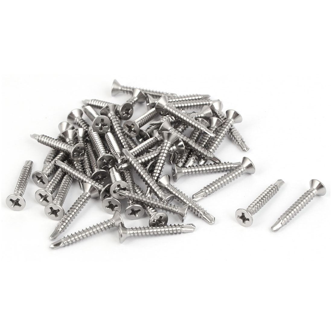 M3.5x25mm #6-20 Stainless Steel Self Drilling Flat Countersunk Head Screw 50 Pcs