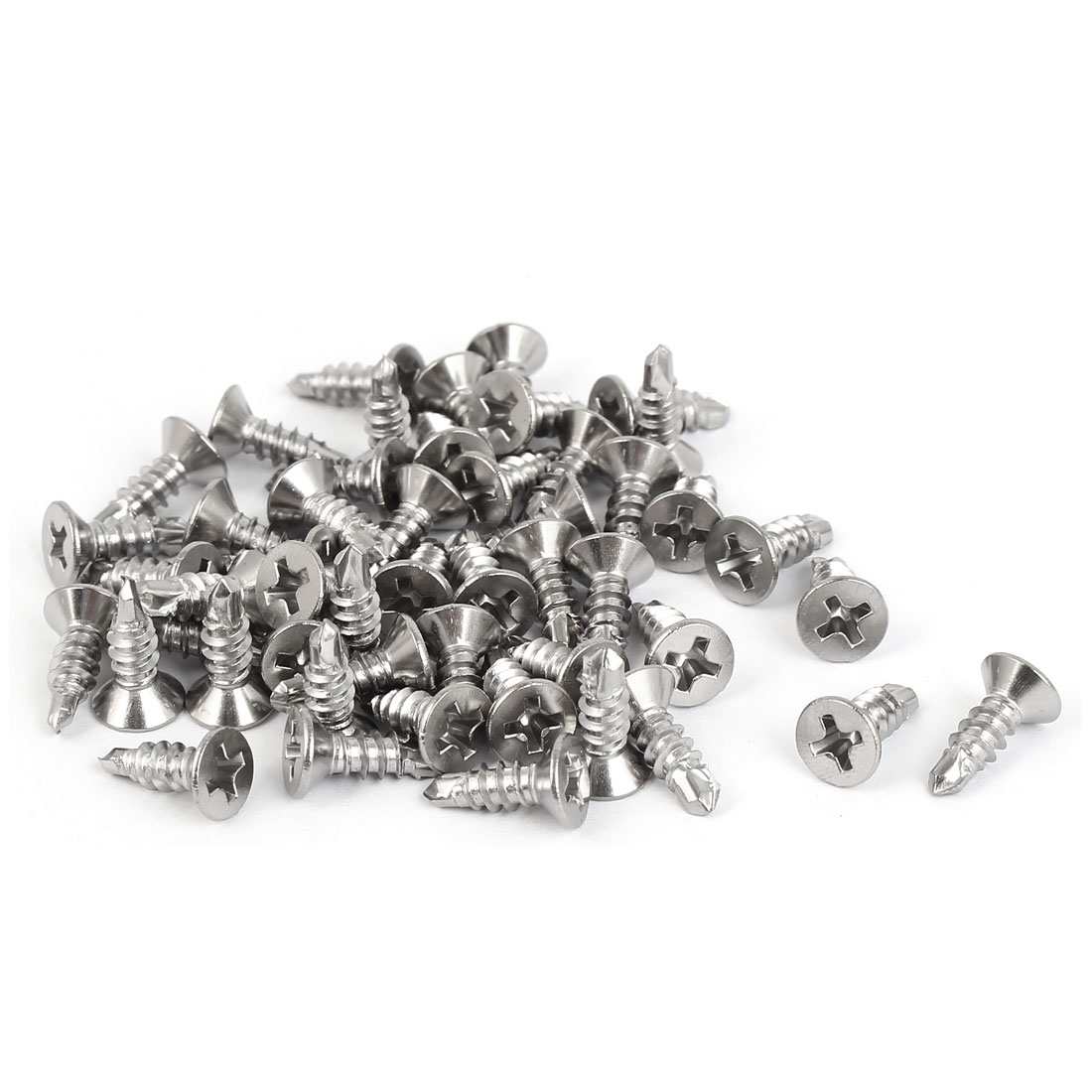 M3.9x13mm #7 Thread 410 Stainless Steel Self Drilling Countersunk Head Screws 50 Pcs