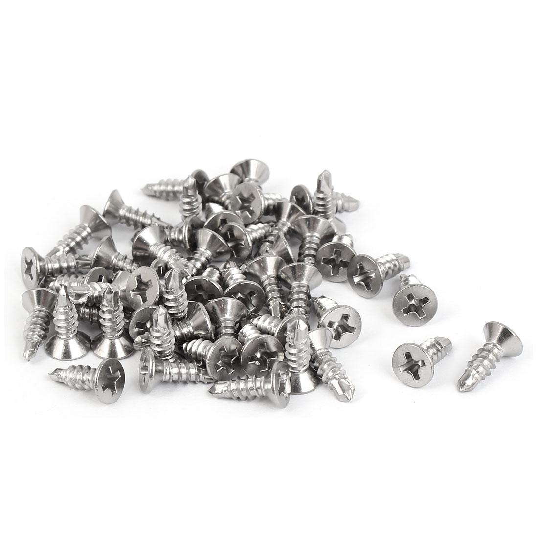 M3.9x13mm #7 Thread 410 Stainless Steel Self Drilling Countersunk Head Screws 50 Pcs