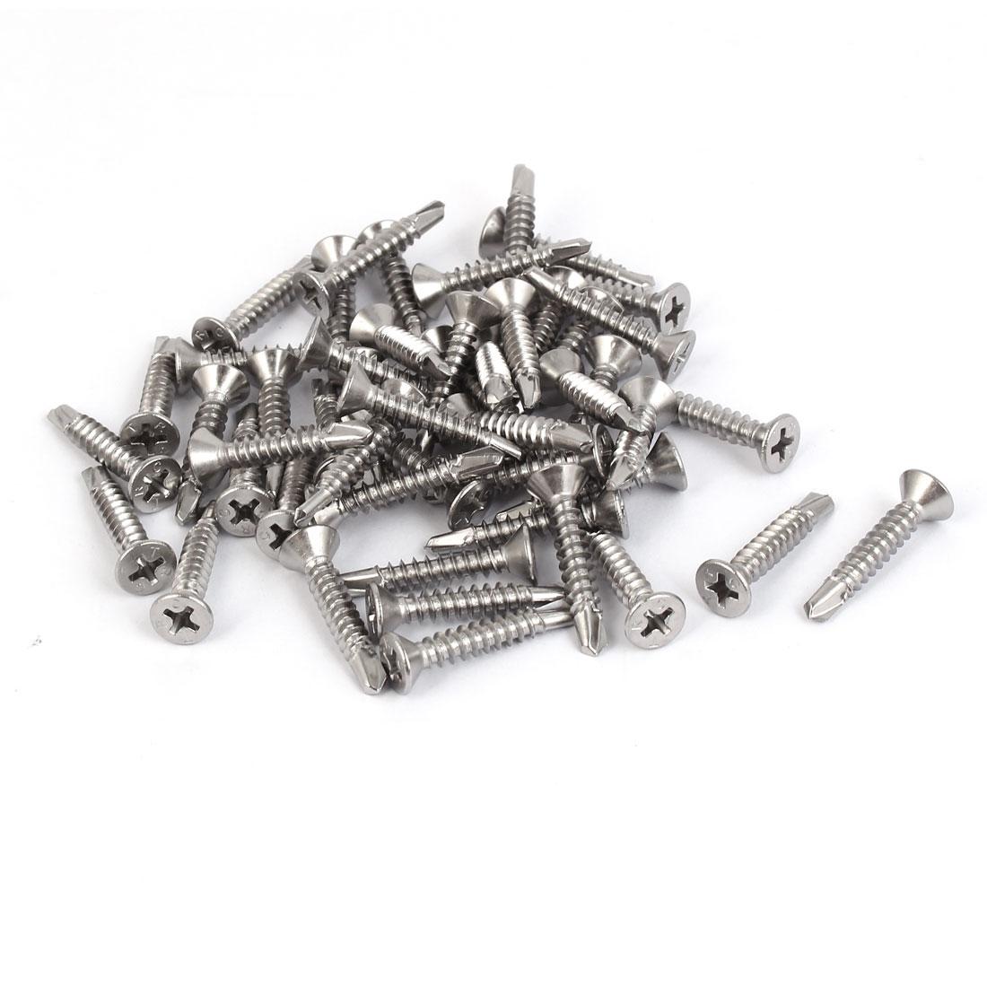 M4.2 #8 Male Thread Self Drilling Countersunk Head Screws 25mm Length 50 Pcs