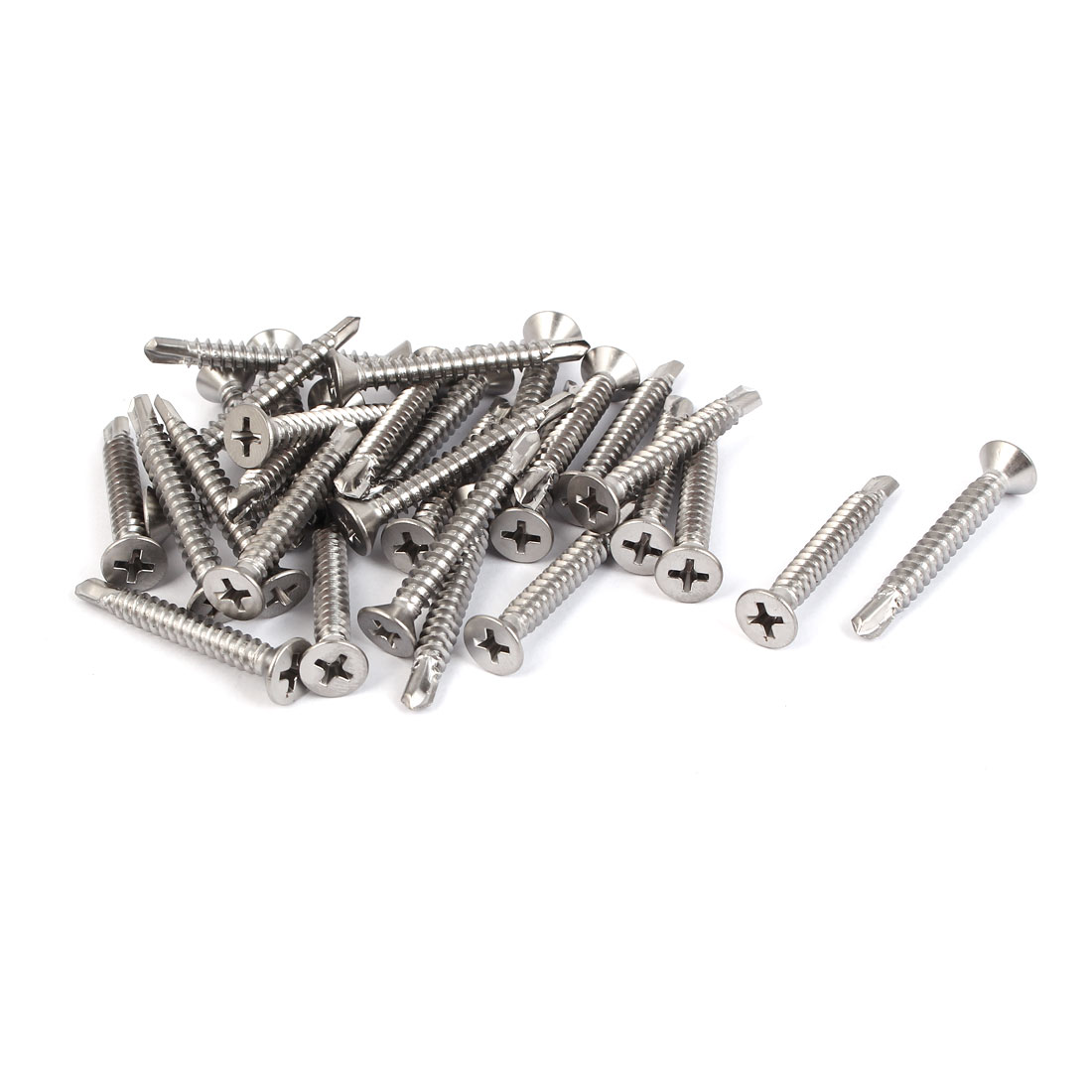 M4.8x38mm #10 Thread 410 Stainless Steel Self Drilling Countersunk Head Screws 30 Pcs