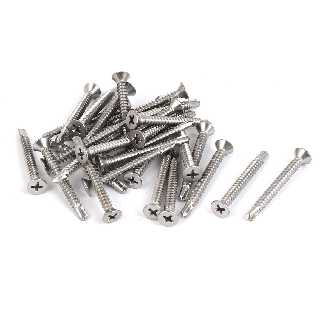 M4.8 #10 Male Thread Self Drilling Countersunk Head Screws 45mm Length 30 Pcs