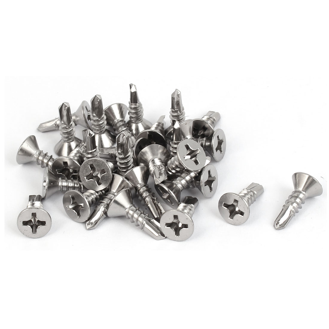 19mm Long M5.5 #12 Male Thread Self Drilling Countersunk Head Screws 30 Pcs