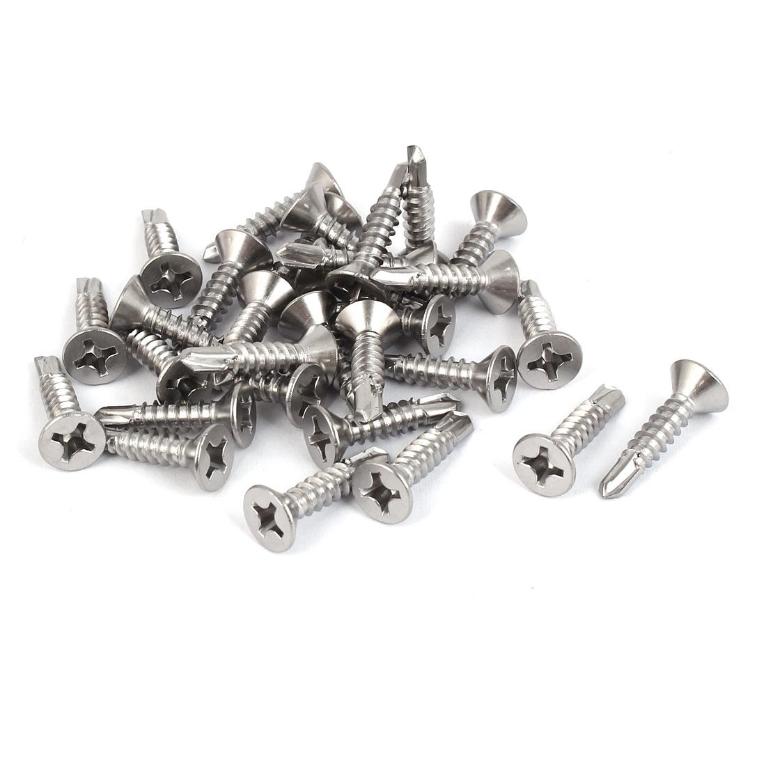 M5.5 x 25mm #12 Male Thread Self Drilling Countersunk Head Screws Bolts 30 Pcs