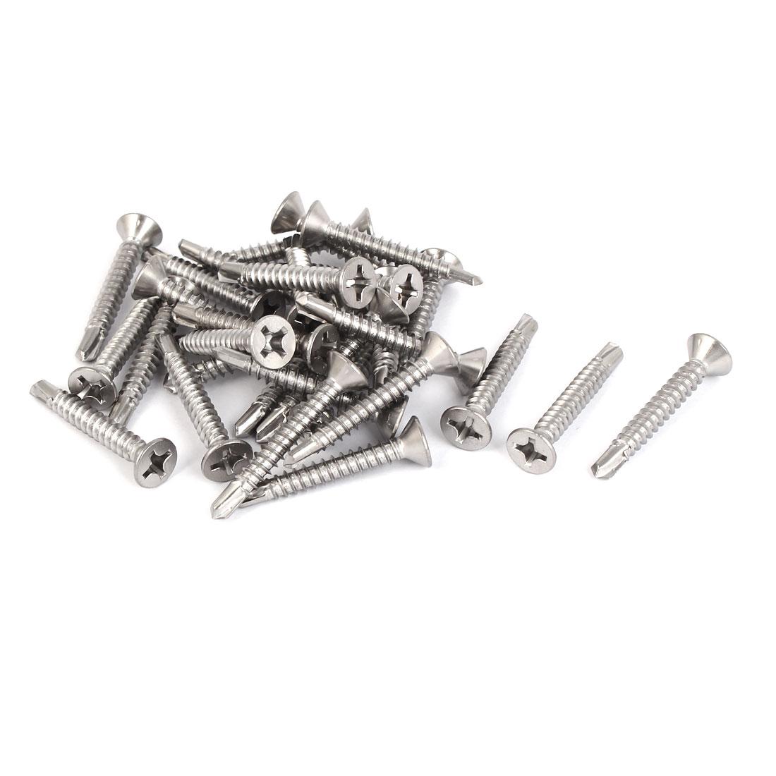 M5.5 #12 Male Thread Self Drilling Countersunk Head Screws 38mm Long 30 Pcs
