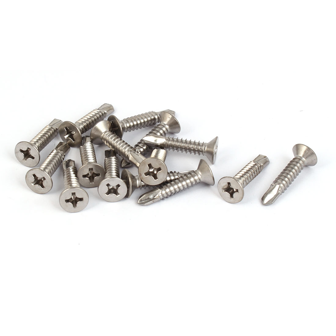 M6.3 x 19mm #14 Thread Self Drilling Phillips Countersunk Head Screws 15 Pcs
