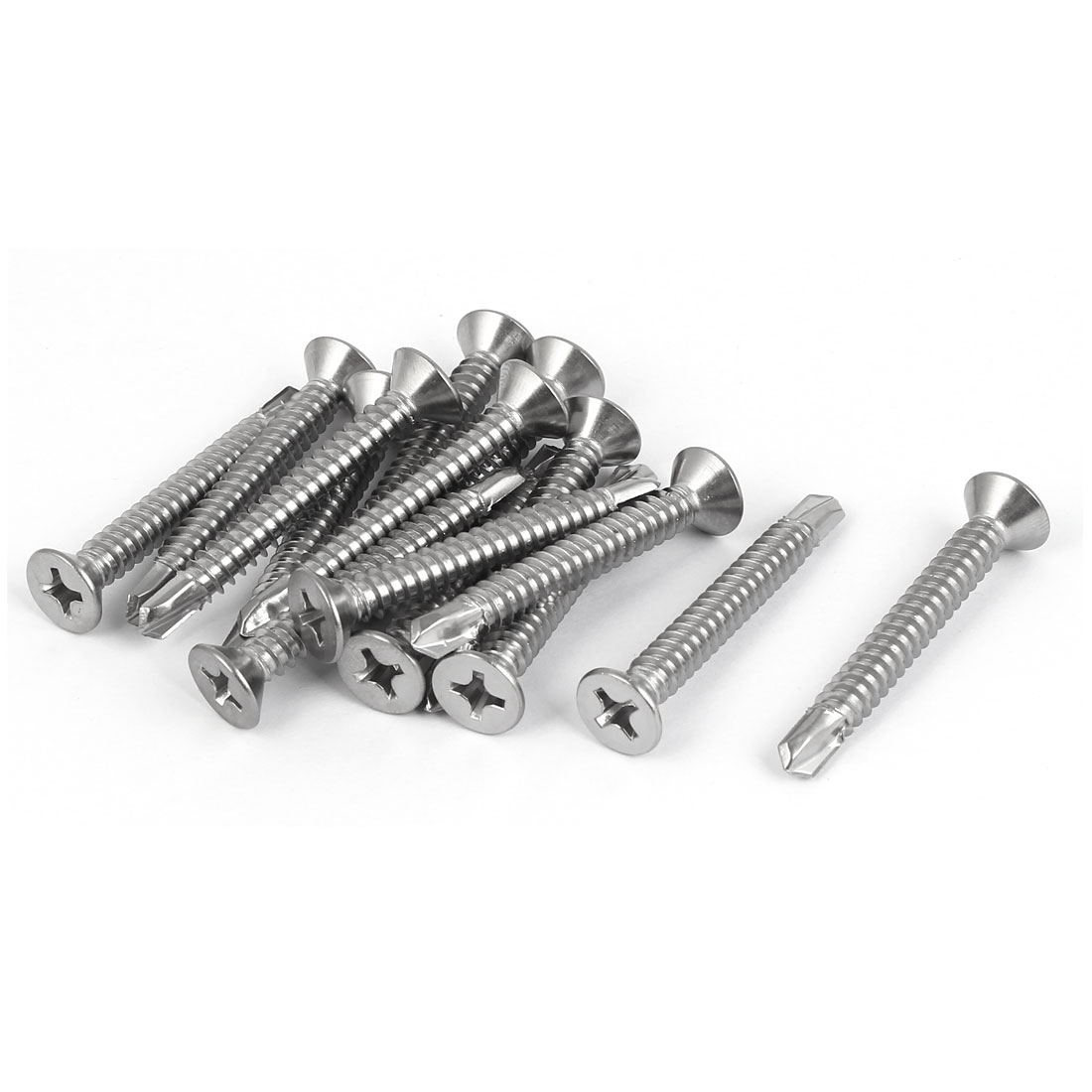 M6.3 x 50mm #14 Stainless Steel Self Drilling Flat Phillips Head Screws 15 Pcs