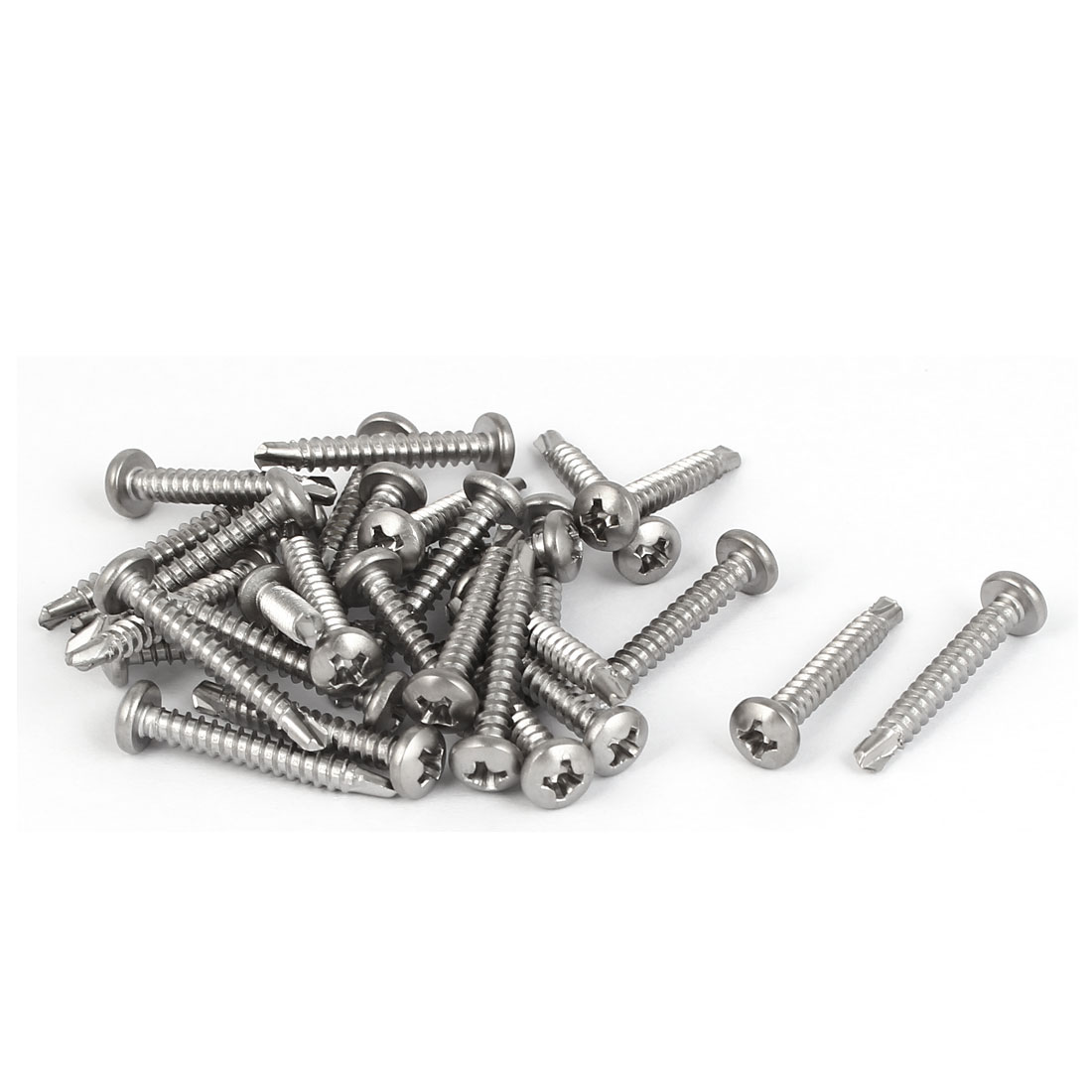 M3.5 x 25mm #6-20 Thread 410 Stainless Steel Self Tapping Drilling Screws 30 Pcs