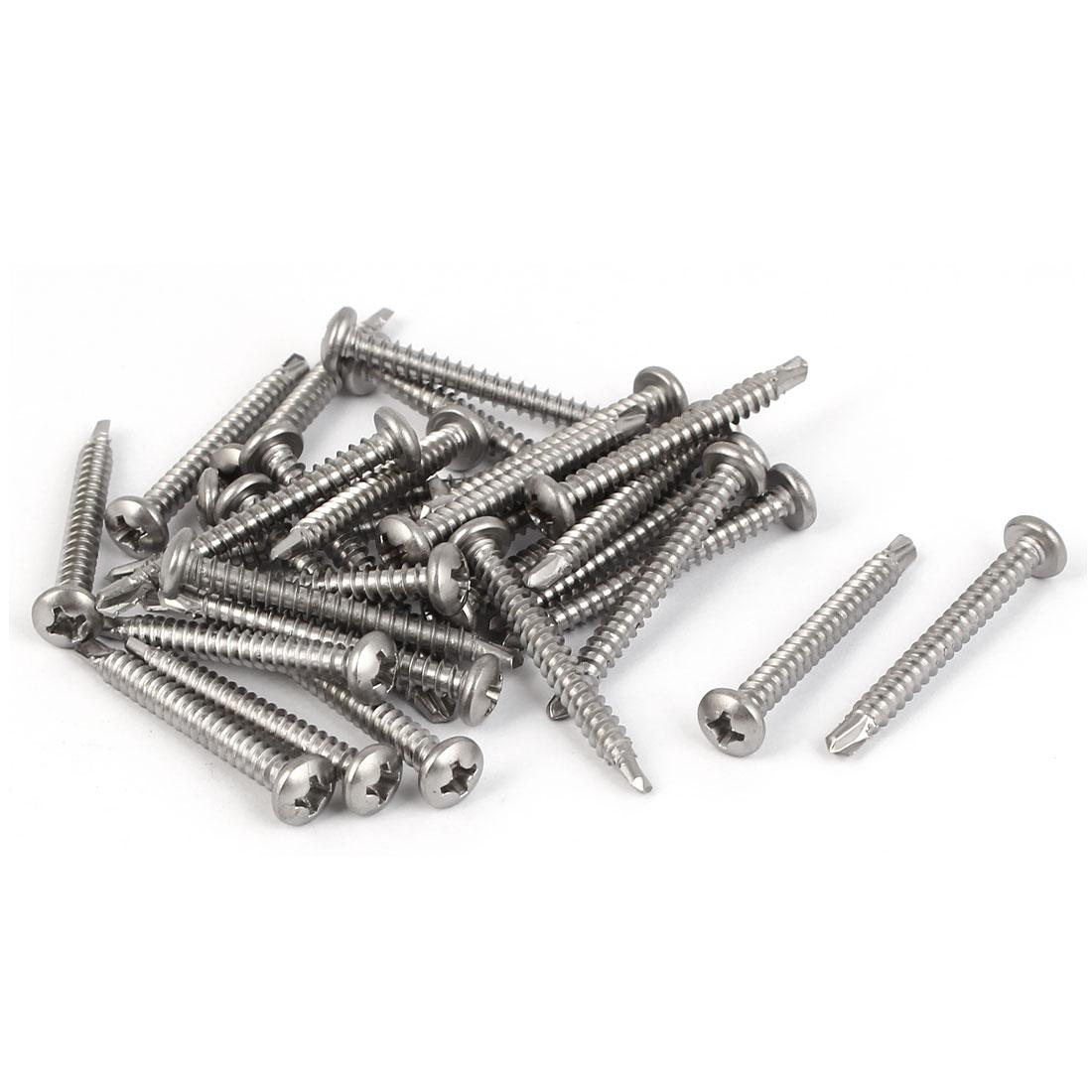 M3.5x32mm #6-20 Male Thread Phillips Pan Head Self Tapping Drilling Screw 30 Pcs