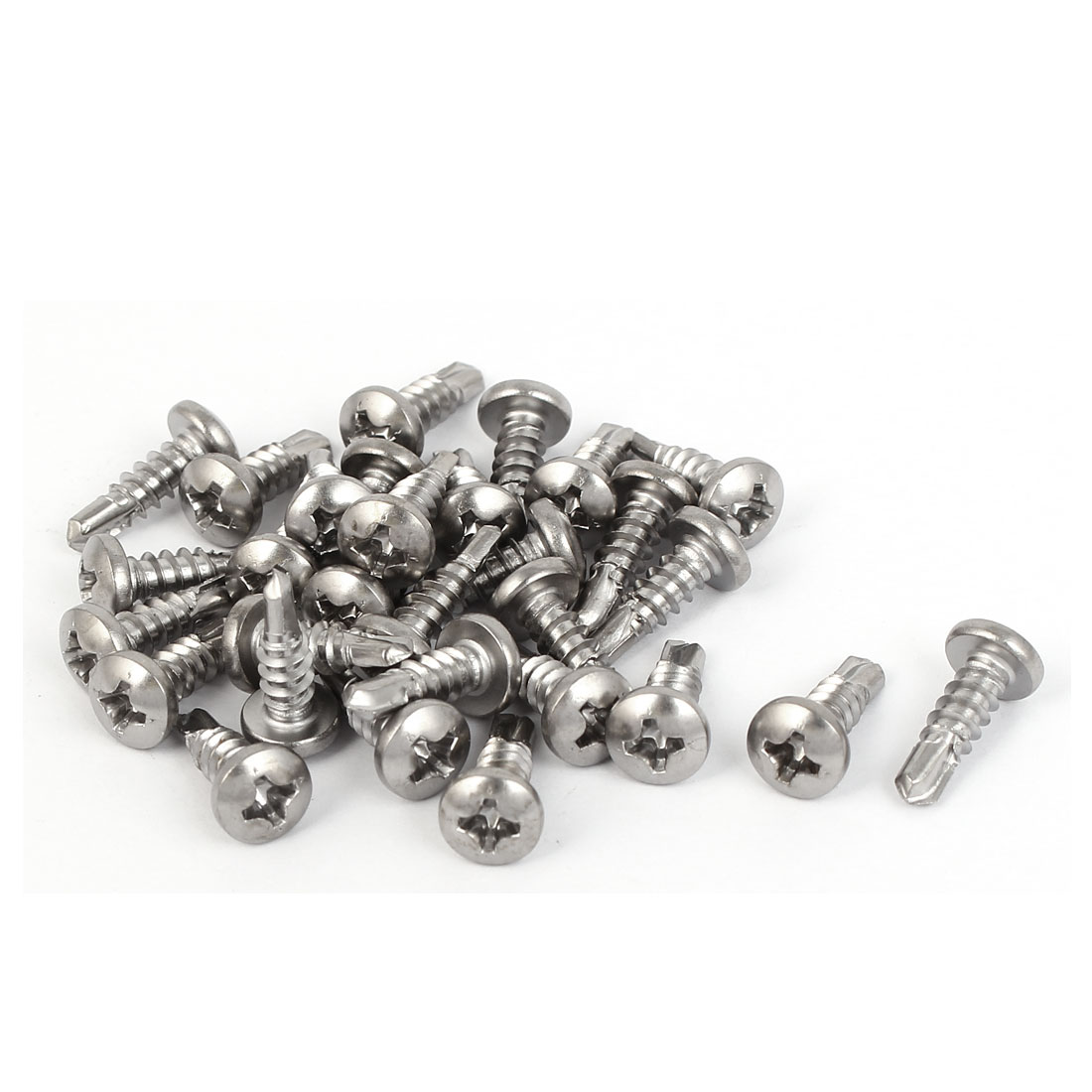 M3.9 x 13mm #7 Male Thread Phillips Pan Head Self Tapping Drilling Screws 30 Pcs