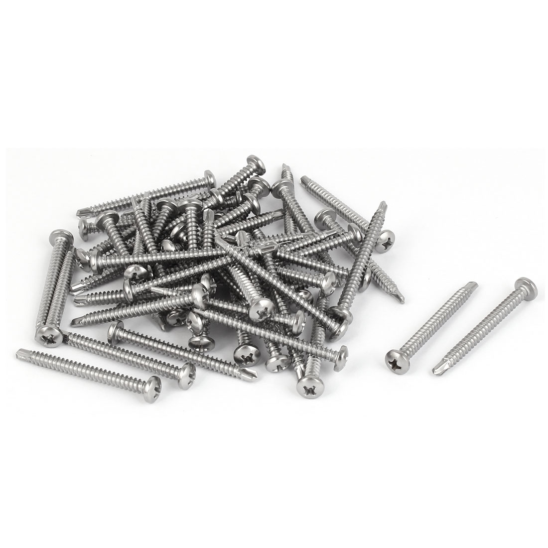 M4.2x45mm #8 Thread 410 Stainless Steel Phillips Drive Self Drilling Screw 50PCS