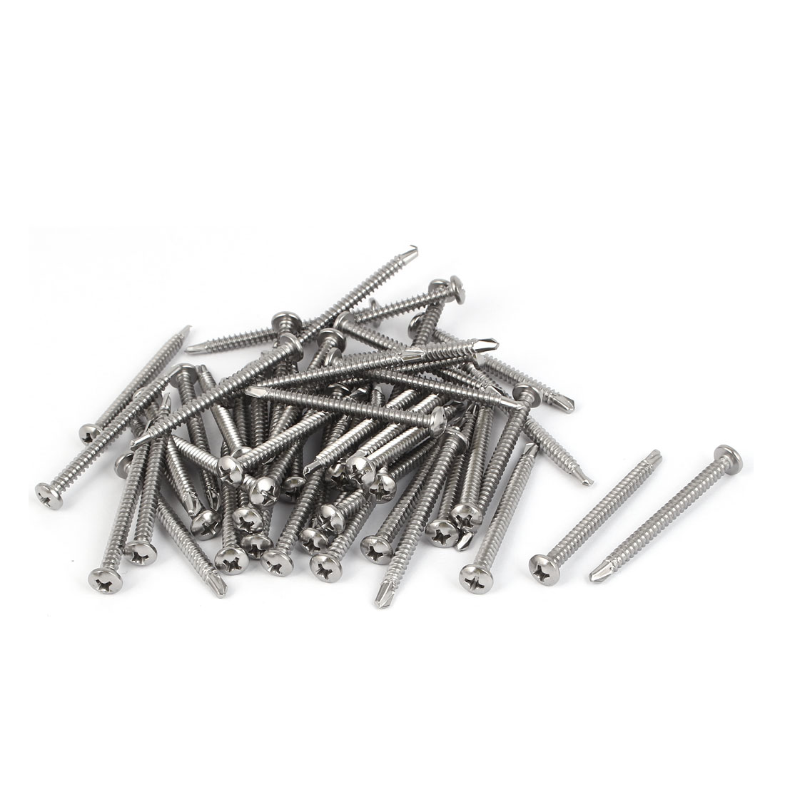 M4.2 x 50mm #8 Thread 410 Stainless Steel Pan Head Self Drilling Screws 50 Pcs