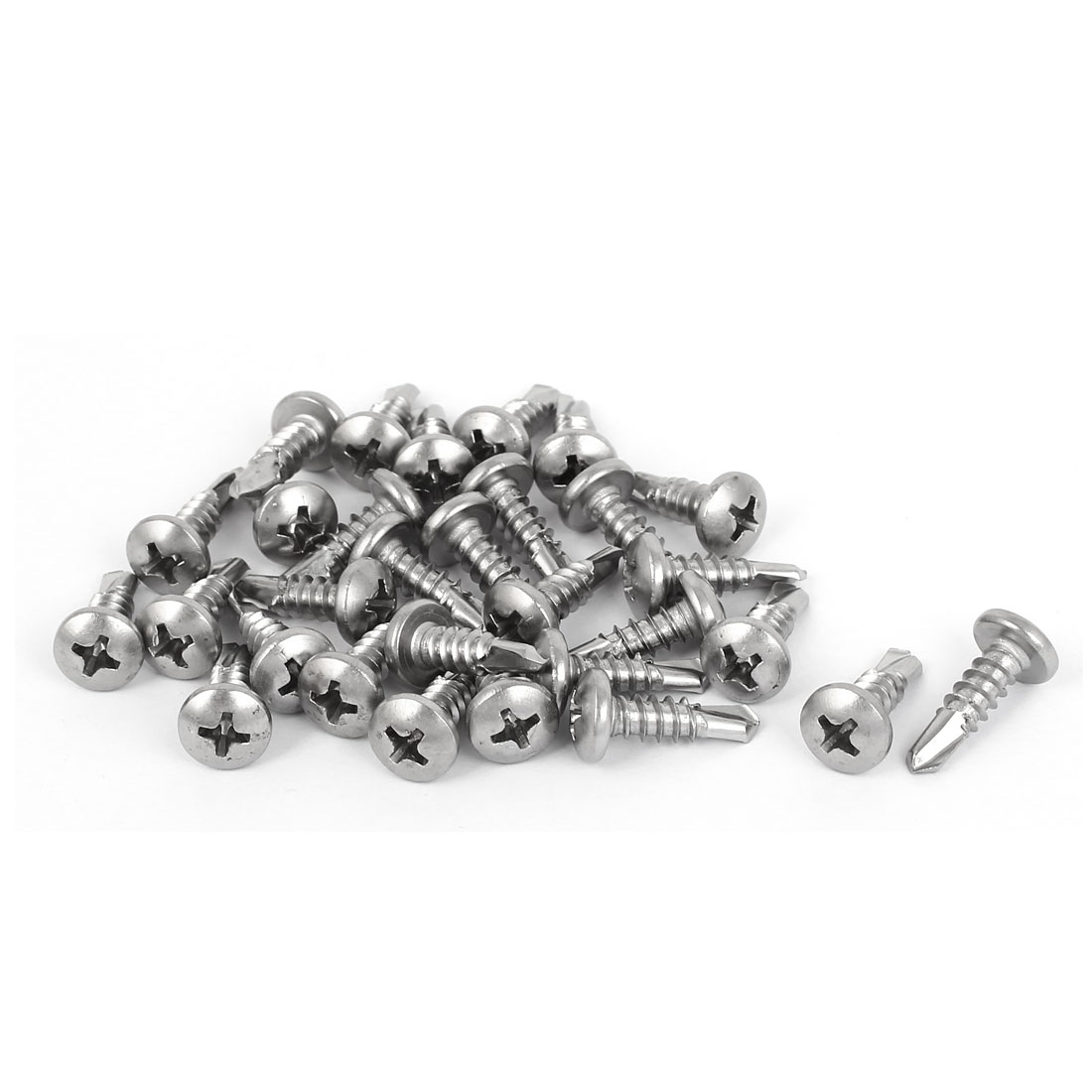 M4.8x16mm #10 Male Thread Phillips Pan Head Self Tapping Drilling Screws 30 Pcs