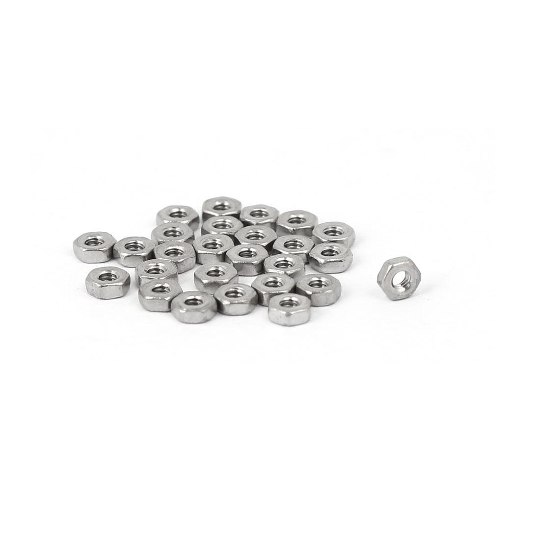 M1.6 Thread Dia 304 Stainless Steel Hex Nut Screw cap Fastener Silver Tone 25pcs