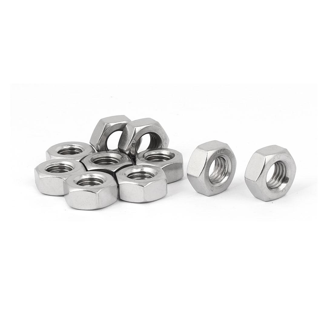 M10 Thread Dia 304 Stainless Steel Hex Nut Screw Cap Fastener Silver Tone 10pcs