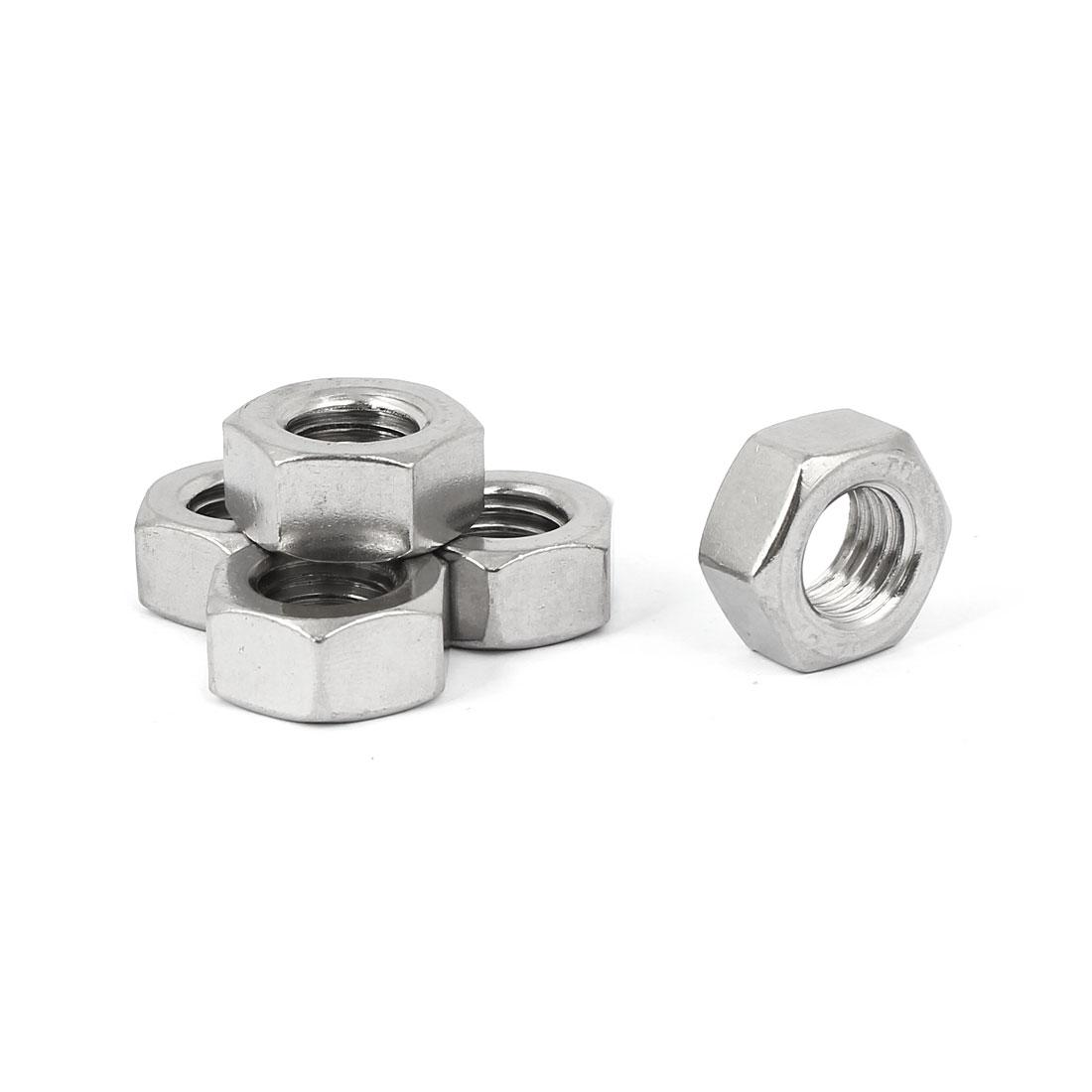 M14 Thread Dia 304 Stainless Steel Hex Nut Screw Cap Fastener Silver Tone 5pcs
