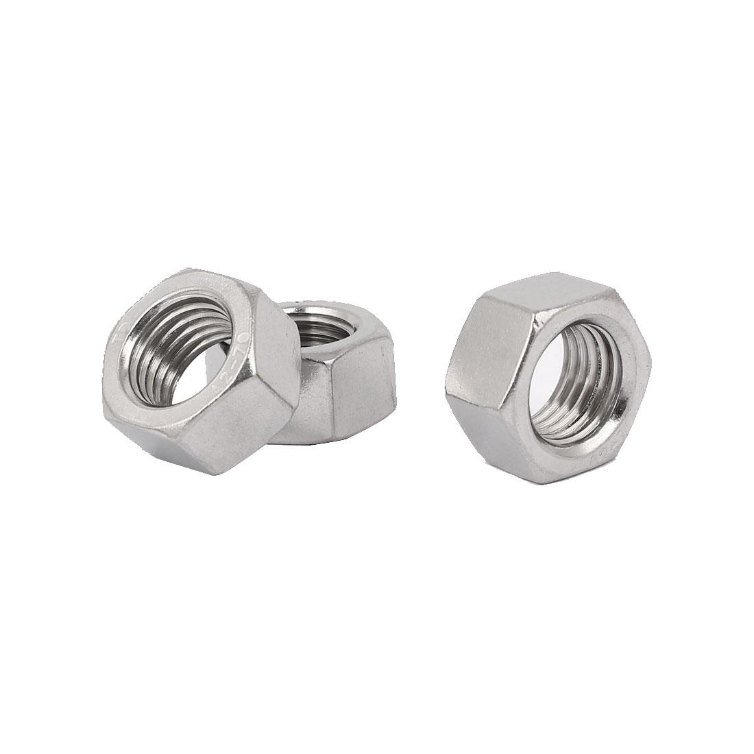 M22 Thread Dia 304 Stainless Steel Hex Nut Screw Cap Fastener Silver Tone 3pcs
