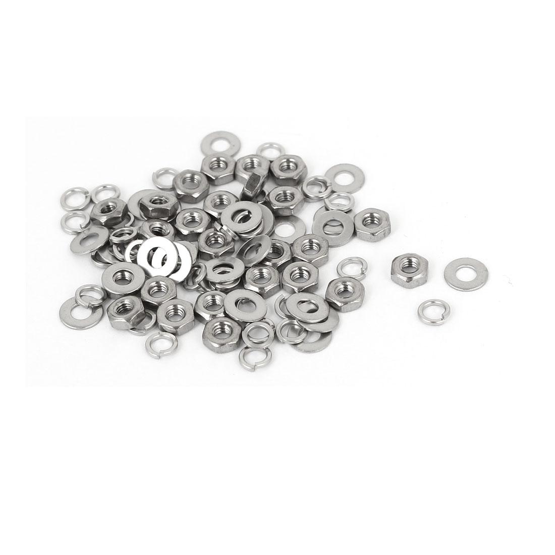 M2 Thread Diameter 304 Stainless Steel Hex Nut Flat Washer Split Lock 25 Sets