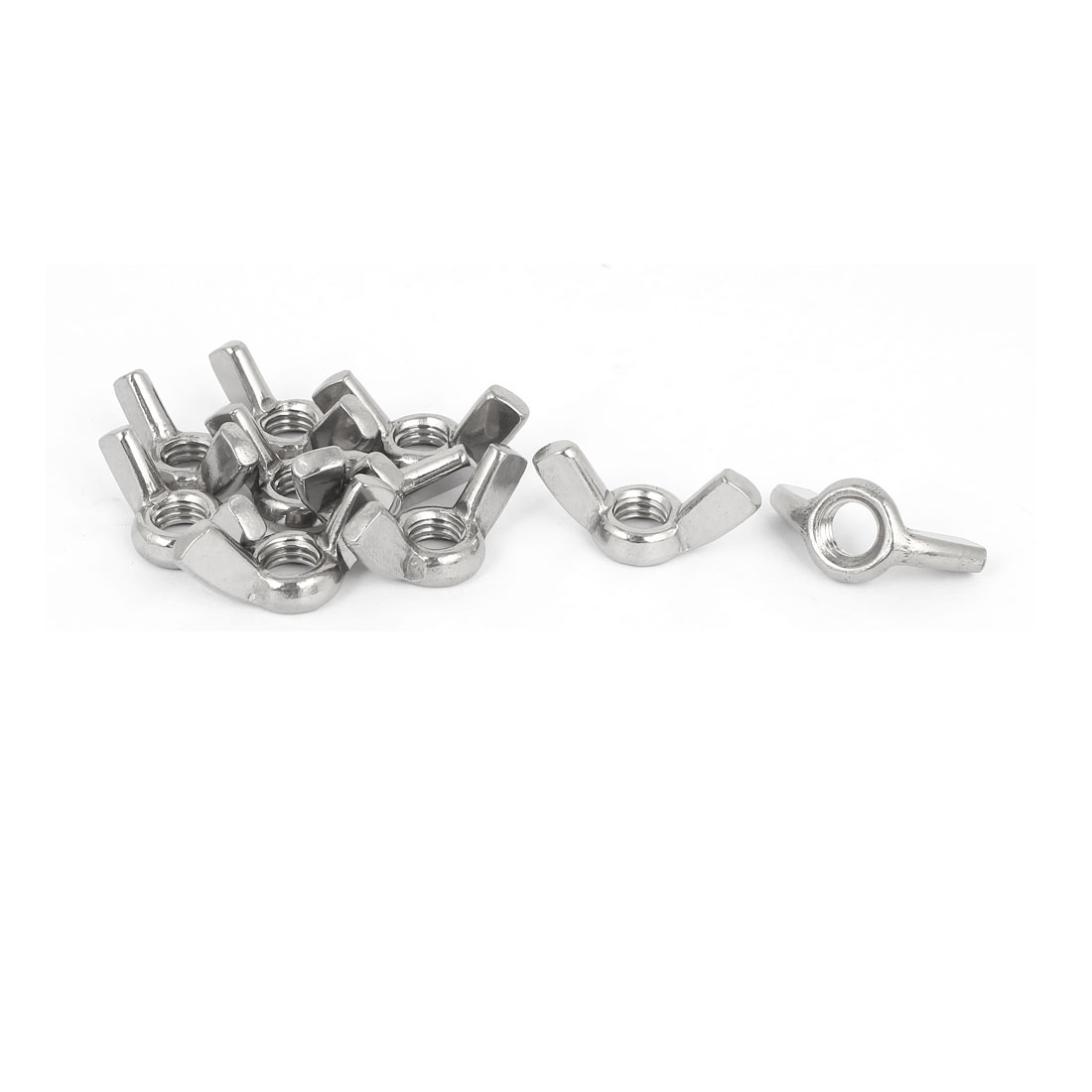 304 Stainless Steel Wingnut Butterfly Wing Nuts Silver Tone M8 10pcs